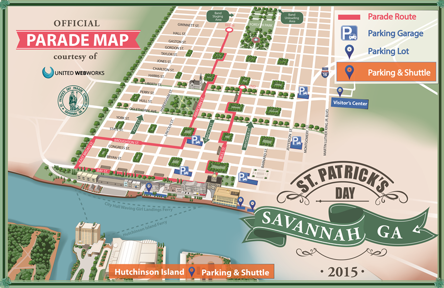 2015 Saint Patrick's Day Parade Route Savannah GA