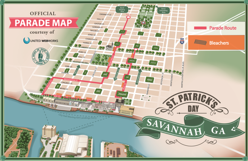 2015 Bleacher Seating Map Saint Patrick's Day Savannah GA
